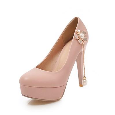 767c5742e9 Women's PU(Polyurethane) Spring & Summer Sweet / British Heels Stiletto  Heel Round Toe Crystal / Pearl White / Black / Pink / Party & Evening