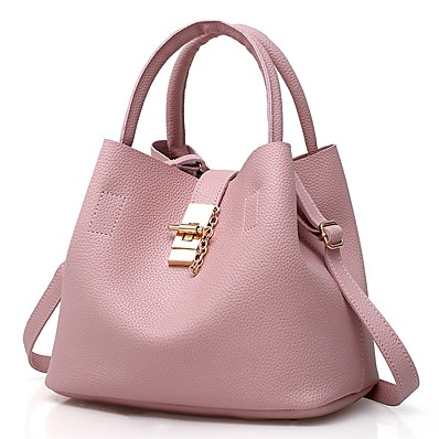 cheap Accessories-Women's Bags Patent Leather Shoulder Strap Bucket Bag Bag Set Zipper Solid Color Daily Holiday Handbags Black Red Blushing Pink