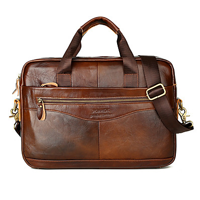 cheap Men's Bags-Men's Official Cowhide Briefcase Messenger Bag Solid Color Black / Brown / Fall & Winter