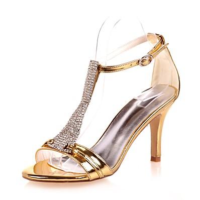 f066fe065da Women s Patent Leather Fall   Spring   Summer Minimalism Sandals Stiletto  Heel Open Toe Rhinestone   Sparkling Glitter   Buckle Gold   Silver   Blue    Party ...