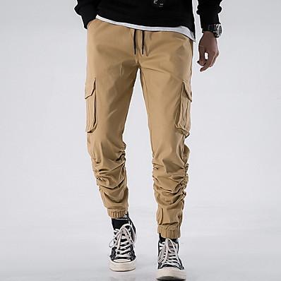 cheap Men's Bottoms-Men's Basic Cargo Pants - Solid Colored Black Wine Light Brown 30 32 34