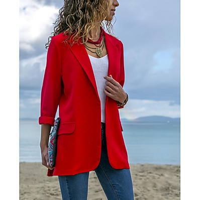cheap Blazers-Women's Blazer, Solid Colored Notch Lapel Polyester Blue / Black / Red
