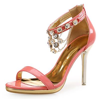 5cb6137c3d1d Women s Patent Leather Summer Sweet   Minimalism Sandals Stiletto Heel Open  Toe Rhinestone White   Black   Orange   Party   Evening