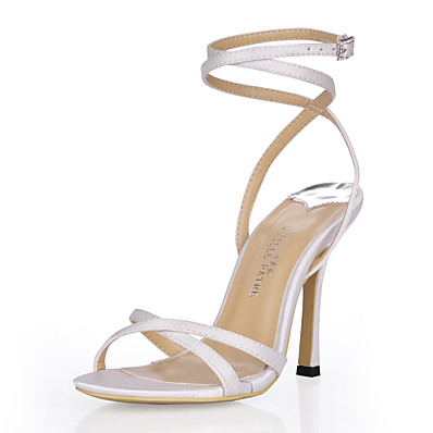 82340a342266 Women s Silk Spring   Summer Classic   Minimalism Sandals Stiletto Heel  Open Toe Rhinestone   Buckle Black   Ivory   Wedding   Party   Evening