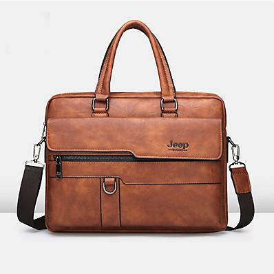 cheap Men's Bags-Men's Zipper PU Briefcase Solid Color Black / Brown / Orange
