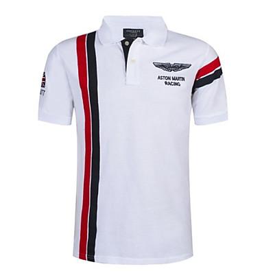 cheap Men's Tops-Men's Slim Polo - Color Block Shirt Collar White