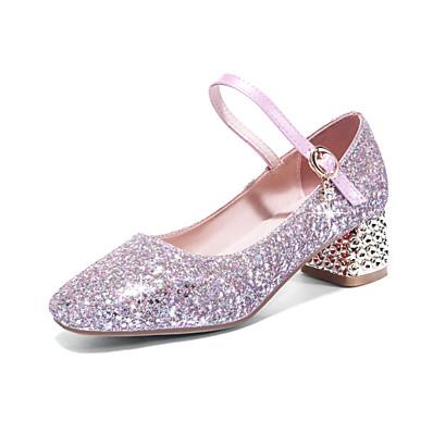 b31c6d1da736f6 Femme Polyuréthane Printemps été Doux / British Chaussures à Talons Talon  Bottier Bout carré Paillette / Boucle Dorée / Argent / Rose