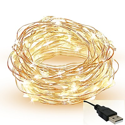 cheap LED String Lights-5m String Lights 50 LEDs SMD 0603 Warm White White Red Cuttable Party Decorative 5 V IP65