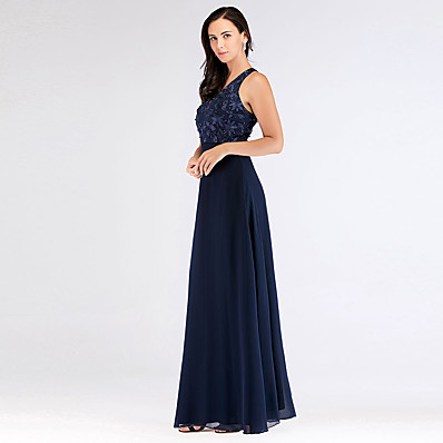 cheap Bridesmaid Dresses-A-Line V Neck Floor Length Chiffon Bridesmaid Dress with Appliques