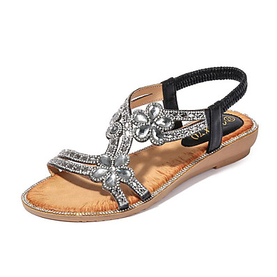 cheap Sandals-Women's Sandals Boho Bohemia Beach Glitter Crystal Sequined Jeweled Flat Sandals Flat Heel Open Toe Flat Sandals Sweet Daily Beach Walking Shoes PU Rhinestone Solid Colored Black Pink Gold