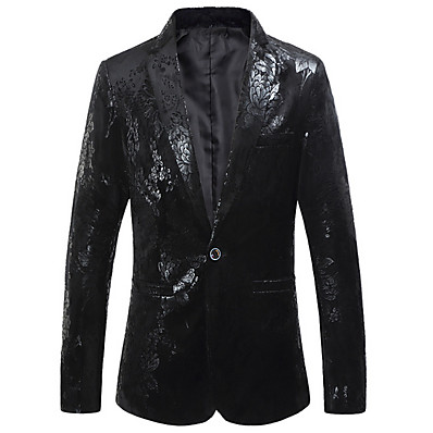 cheap Men's Outerwear-Men's Plus Size Blazer Notch Lapel Polyester Black / Navy Blue / Slim