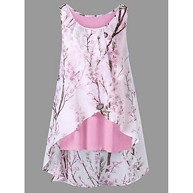 cheap Tops-Women's Plus Size Tank Top - Floral Floral / Fashion Black XXXL / Spring / Summer / Fall / Winter