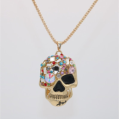 cheap Men's Jewelry-Men's Women's Pendant Necklace Statement Necklace Classic Skull Statement Unique Design Punk Rock Gold Plated Glass Chrome Gold 70 cm Necklace Jewelry 1pc For Halloween Carnival Masquerade Holiday Bar
