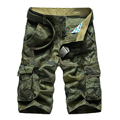 """cheap Camping, Hiking & Backpacking-Men's Hiking Shorts Hiking Cargo Shorts Camo Summer Outdoor 10"""" Relaxed Fit Breathable Comfortable Multi-Pocket Wear Resistance Cotton Shorts Bottoms Army Green Khaki Camping / Hiking Hunting Fishing"""