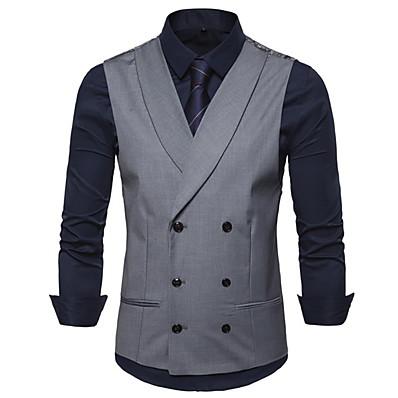 cheap Men's Outerwear-Men's Vest V Neck Polyester Black / Gray / Khaki / Slim