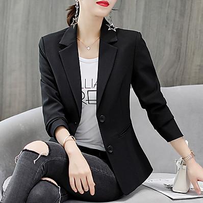 cheap Blazers-Women's Blazer, Solid Colored Notch Lapel Polyester / Spandex White / Black