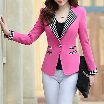 cheap Blazers-Women's Blazer, Check Notch Lapel Polyester Yellow / Fuchsia / Light Blue