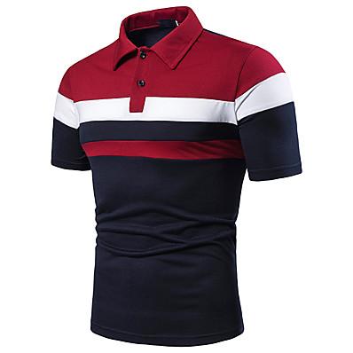 cheap Men's Tops-Men's Polo - Color Block Patchwork Shirt Collar Light gray