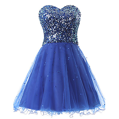 cheap Evening Dresses-A-Line Sweetheart Neckline Short / Mini Tulle / Sequined Beautiful Back / Cute Cocktail Party / Homecoming Dress 2020 with Sequin