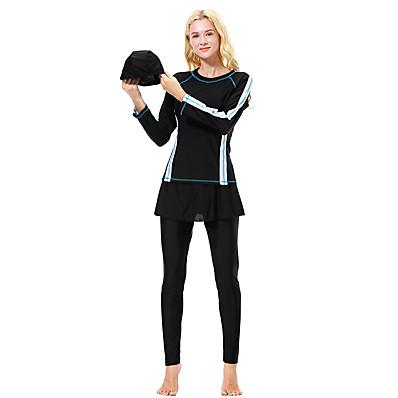 cheap Tankinis-Women's Basic Black Navy Blue Gray Underwire Burkini Swimwear - Color Block XL XXL XXXL Black