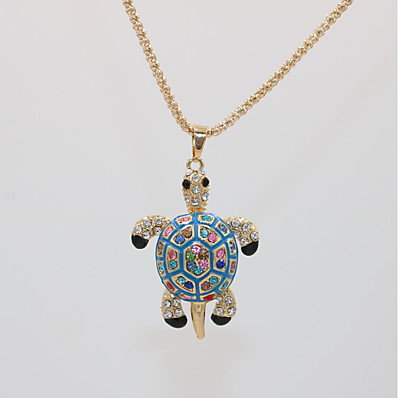 cheap Women's Jewelry-Women's Pendant Necklace Statement Necklace Classic Turtle Animal Dainty Unique Design Casual / Sporty Gold Plated Chrome Black Red Blue 70 cm Necklace Jewelry 1pc For Carnival Masquerade Club