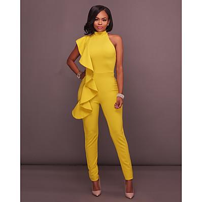 ราคาถูก ของขวัญวาเลนไทน์-สำหรับผู้หญิง พื้นฐาน สง่างาม เซ็กซี่ คล้องไหล่ ปาร์ตี้ ทุกวัน ฮอลิเดย์ 2021 สีเหลือง สีน้ำเงินกรมท่า ขาว ชุด Jumpsuits เปิดหลัง สีทึบ