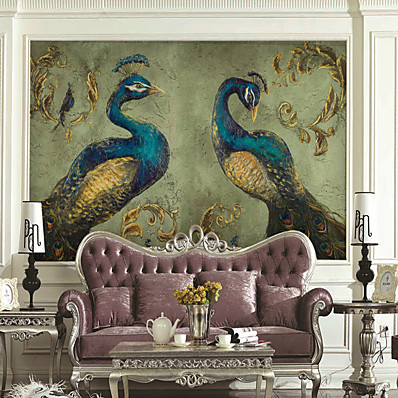 cheap Wall Art-Art Deco Pattern Animal Home Decoration Classic Modern Wall Covering, Canvas Material Adhesive required Wallpaper Mural Wall Cloth, Room Wallcovering