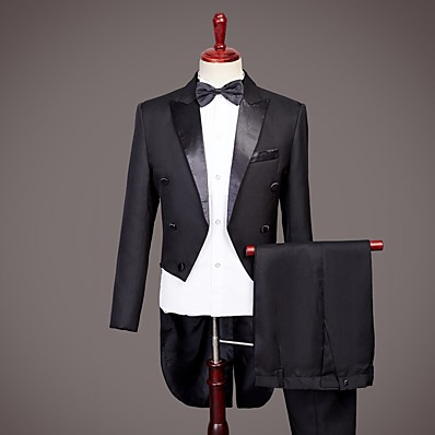 cheap Tuxedos & Suits-Tuxedos Standard Fit Peak No Buttons Nylon Solid Colored