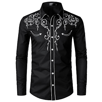cheap Men's Tops-Men's EU / US Size Shirt - Solid Colored Embroidered Classic Collar Black