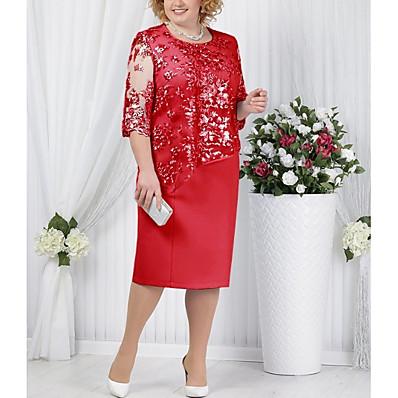 cheap Dresses-Women's T Shirt Dress Lace Fashion Spring Light Blue Blue Red S M L XL
