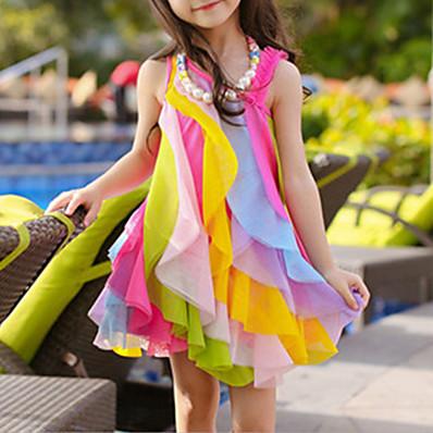 cheap Girls' Clothing-Kids Toddler Girls' Cute Sweet Patchwork Rainbow Layered Mesh Patchwork Sleeveless Asymmetrical Polyester Dress Fuchsia