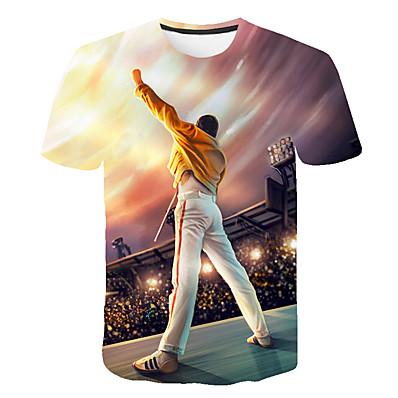 cheap Men's Tops-Men's Daily Street Basic Plus Size T-shirt - 3D / Cartoon / Portrait Print Round Neck Rainbow / Short Sleeve