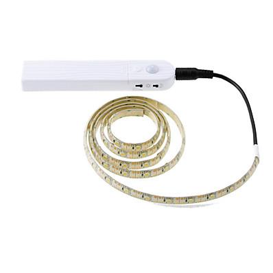 abordables Bandes Lumineuses LED-1 pcs 3 m sans fil pir motion sensor led lit placard nuit lumière 5 v 2835 led bande aaa batterie puissance flexiable lampe éclairage