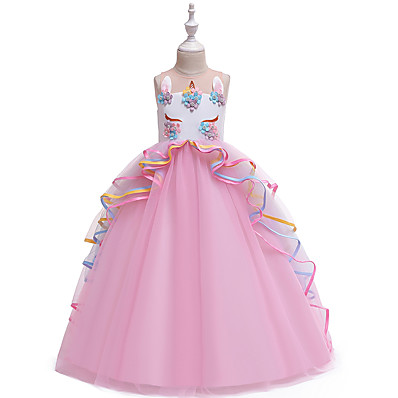 cheap Girls' Clothing-Kids Girls' Vintage Sweet Unicorn Color Block Layered Patchwork Sleeveless Maxi Dress Blushing Pink