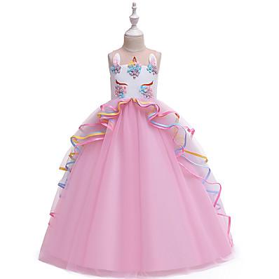 cheap BABY & KIDS-Kids Girls' Vintage Sweet Unicorn Color Block Layered Patchwork Sleeveless Maxi Dress Blushing Pink