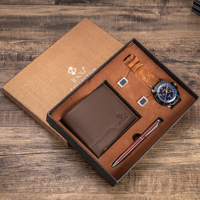 cheap Men's Watches-Men's Dress Watch Analog Quartz Gift Set Minimalist Chronograph Luminous Casual Watch / Two Years / Leather