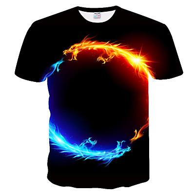 cheap Men's Tops-Men's T-Shirt Plus Size Slim T-shirt - 3D / Animal Print Round Neck Black
