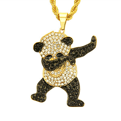 cheap Men's Jewelry-Men's Cubic Zirconia Pendant Necklace Panda European Trendy Rock Fashion Chrome Gold Silver 76 cm Necklace Jewelry 1pc For Daily Street Club