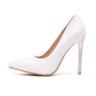 cheap Pumps & Heels-Women's Heels Party Heels Stiletto Heel Pointed Toe PU(Polyurethane) Sweet / Minimalism Spring &  Fall / Spring & Summer White / Black / Red / Party & Evening