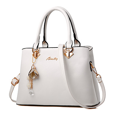 cheap Accessories-Women's Bags Satchel Top Handle Bag PU Leather Zipper Shopping Daily Solid Color Leather Bags Handbags Wine White Black Red