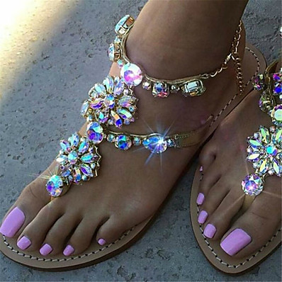 cheap Sandals-Women's Sandals Boho / Beach Flat Heel Open Toe Rhinestone Faux Leather Sweet Spring &  Fall Dark Grey / Black / White / Gold