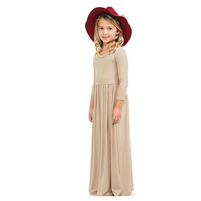 cheap KIDS-Kids Girls' Solid Colored Dress Wine