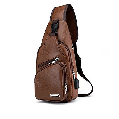cheap Bags-Men's Bags PU Leather Sling Shoulder Bag Chest Bag Zipper Solid Color Daily Outdoor Dark Brown Black Brown