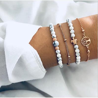 cheap Women's Jewelry-4pcs Women's Bead Bracelet Bracelet Layered Tree of Life Turtle life Tree Stylish Simple Bohemian European Resin Bracelet Jewelry Gold For Party Gift Daily Date Bikini