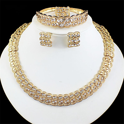 cheap Women's Jewelry-Women's Gold Bridal Jewelry Sets Link / Chain Wave Vintage Rhinestone Earrings Jewelry Gold For Wedding Engagement Gift 1 set