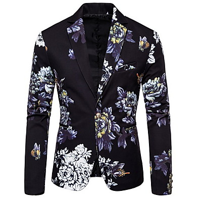 cheap Tuxedos & Suits-White / Black / Dark Green Patterned Standard Fit Polyester Suit - Notch Single Breasted One-button