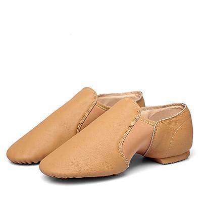 cheap Sneakers-Women's Dance Shoes Sheepskin Jazz Shoes Flat Flat Heel Black / Brown / Performance / Practice