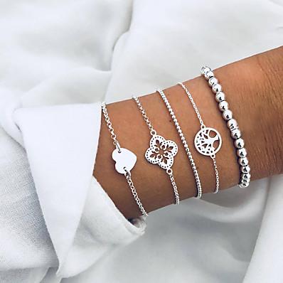 abordables Bijoux pour Femme-Parure Bracelet Femme Perlé Cœur arbre de la vie Européen Mode Bracelet Bijoux Argent pour Quotidien Vacances
