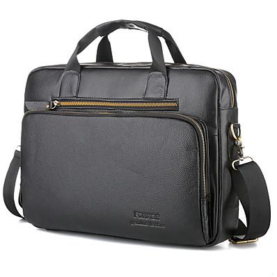 cheap Men's Bags-Men's Zipper Cowhide Briefcase Solid Color Black / Brown / Fall & Winter
