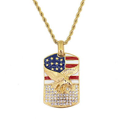 cheap Men's Jewelry-Men's Pendant Necklace American flag Eagle Flag Patriotic Jewelry European Trendy Casual / Sporty Stainless Steel Gold 60 cm Necklace Jewelry 1pc For Gift Daily Festival